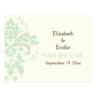 Elegant damask mint ivory wedding Save the Date Postcard