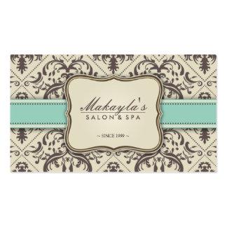 Elegant Damask Modern Brown Green and Beige Business Card Templates