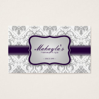 Elegant Damask Modern Gray and Eggplant Purple Business Card