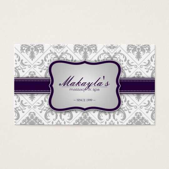 Elegant Damask Modern Grey and Eggplant Purple Business
