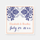 Elegant damask motif navy blue, coral wedding disposable napkin