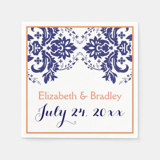 Elegant damask motif navy blue, coral wedding disposable