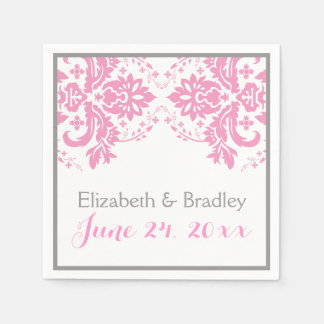 Elegant damask motif pink, grey wedding paper serviettes