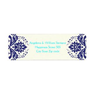 Elegant damask navy blue, aqua, ivory wedding return address label