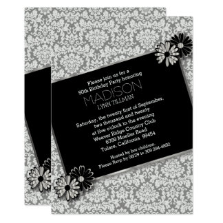 Elegant Damask Party Template Invitation Card