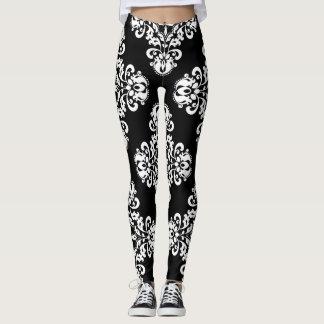 Elegant damask pattern black and white leggings