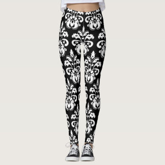 Elegant damask pattern fashion leggings