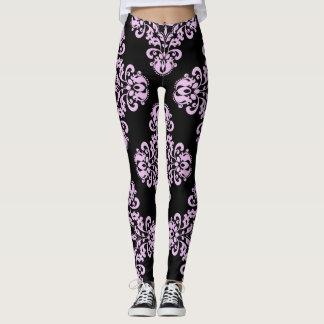 Elegant damask pattern lavender on black leggings