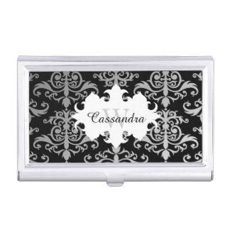 Elegant damask pattern monogram business card holder