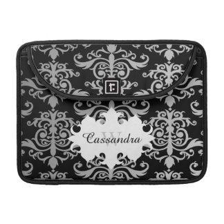 Elegant damask pattern monogram sleeve for MacBooks
