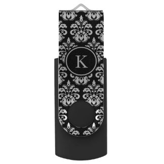Elegant damask pattern personalized monogram USB flash drive