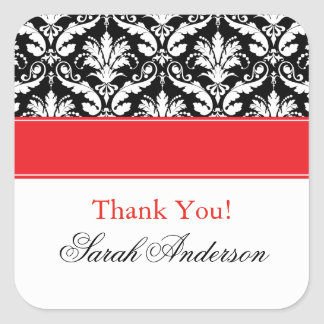 Elegant Damask Pattern Personalized Square Sticker