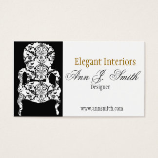 Elegant Damask Pattern Vintage Lace Chair Business Card
