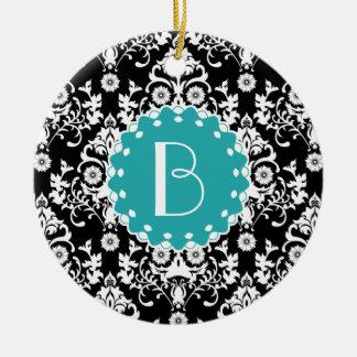 Elegant Damask Pattern with Monogram Christmas Ornament