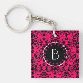 Elegant Damask Pattern with Monogram Double-Sided Square Acrylic Key Ring