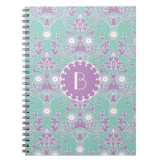 Elegant Damask Pattern with Monogram Notebook