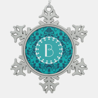 Elegant Damask Pattern with Monogram Snowflake Pewter Christmas Ornament