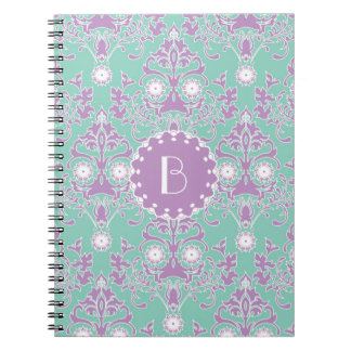 Elegant Damask Pattern with Monogram Spiral Note Books