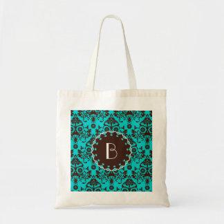 Elegant Damask Pattern with Monogram Tote Bag