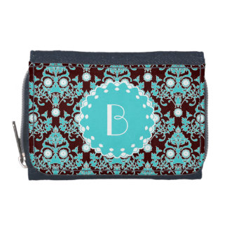 Elegant Damask Pattern with Monogram Wallet