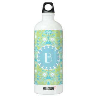 Elegant Damask Pattern with Monogram Water Bottle