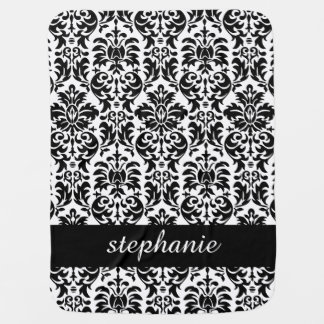 Elegant Damask Patterns with Black and White Baby Blanket