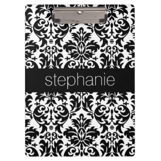 Elegant Damask Patterns with Black and White Clipboards