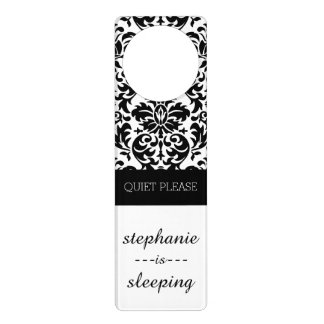 Elegant Damask Patterns with Black and White Door Hangers