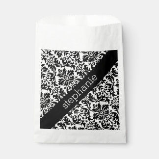 Elegant Damask Patterns with Black and White Favour Bags