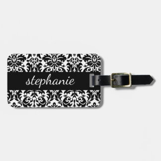 Elegant Damask Patterns with Black and White Luggage Tag