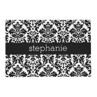 Elegant Damask Patterns with Black and White Placemat