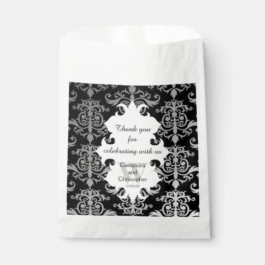 Elegant damask personalised monogrammed wedding favour bags