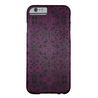 Elegant Damask Purple Fade to Black Shimmer Barely There iPhone 6 Case
