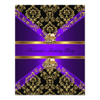 Elegant Damask Purple Gold Black Birthday 11 Cm X 14 Cm Invitation Card
