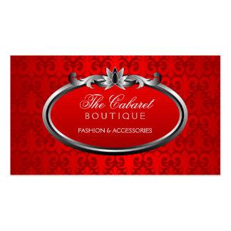 Elegant Damask Red Silver Shimmer Business Cards