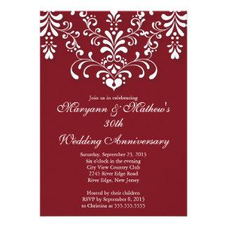Elegant Damask Red Wedding Anniversary Invitation