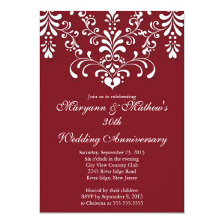 Elegant Damask Red Wedding Anniversary Invitation
