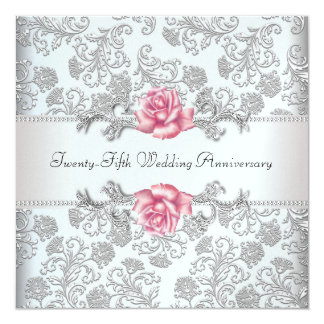 Elegant Damask Rose 25th Wedding Anniversary 13 Cm X 13 Cm Square Invitation Card