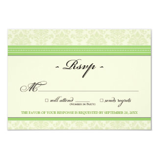 "Elegant Damask RSVP Card (apple/cream) 3.5"" X 5"" Invitation Card"