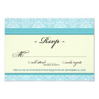 "Elegant Damask RSVP Card (aqua/cream) 3.5"" X 5"" Invitation Card"