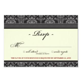 "Elegant Damask RSVP Card (black/cream) 3.5"" X 5"" Invitation Card"