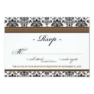 "Elegant Damask RSVP Card (chocolate) 3.5"" X 5"" Invitation Card"