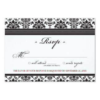 "Elegant Damask RSVP Card (ebony) 3.5"" X 5"" Invitation Card"