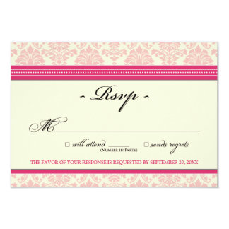 "Elegant Damask RSVP Card (fuchsia/cream) 3.5"" X 5"" Invitation Card"