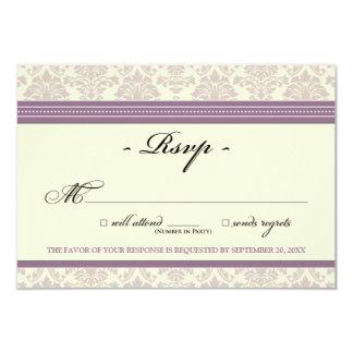 "Elegant Damask RSVP Card (lilac/cream) 3.5"" X 5"" Invitation Card"
