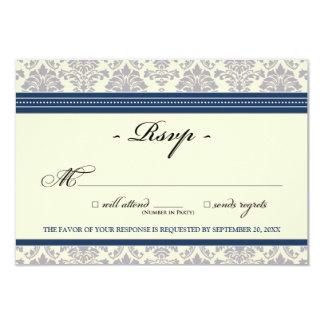 "Elegant Damask RSVP Card (navy/cream) 3.5"" X 5"" Invitation Card"