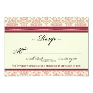 "Elegant Damask RSVP Card (red/cream) 3.5"" X 5"" Invitation Card"