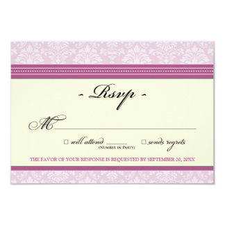 """Elegant Damask RSVP Card (violet/cream) 3.5"""" X 5"""" Invitation Card"""