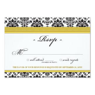 "Elegant Damask RSVP Card (yellow) 3.5"" X 5"" Invitation Card"