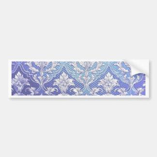Elegant damask silver white blue indigo victorian bumper stickers